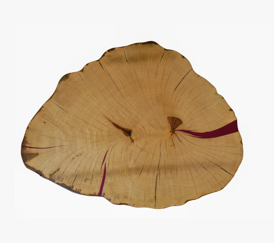 Tischplatte in Birne mit bordeauviolettem Epoxidharz (RAL 4004) und matt lackierter Oberfläche
