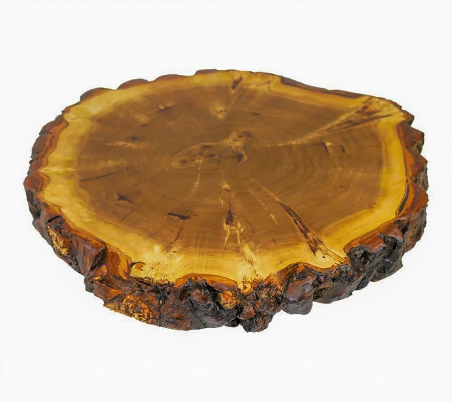 Tischplatte in Maserpappel mit Rinde, mit transparentem Epoxidharz ausgegossen und anschließend matt lackiert