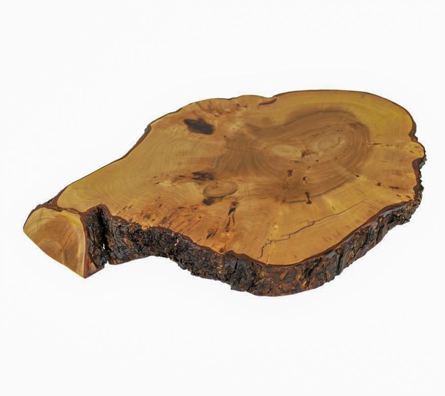 Tischplatte in Ulme bzw. Rüster, Risse mit transparentem Epoxidharz ausgegossen und anschließend matt lackiert